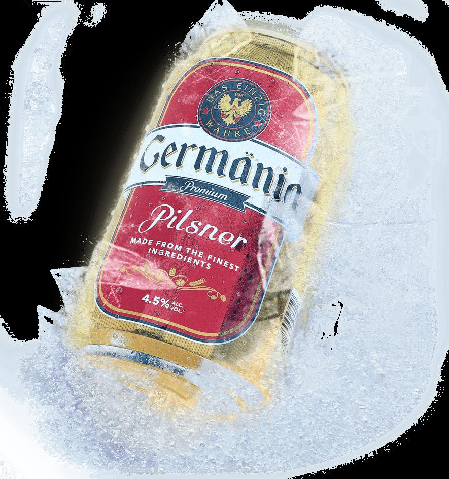 Lata de cerveza bien fría - Lata de cerveza Germänia Súper Helada