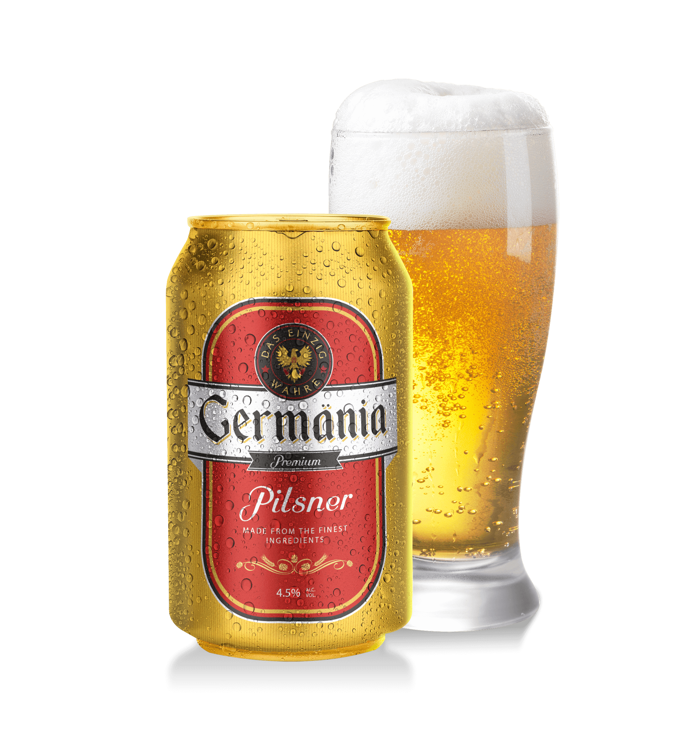 Lata de Cerveza Germänia con vaso cervecero